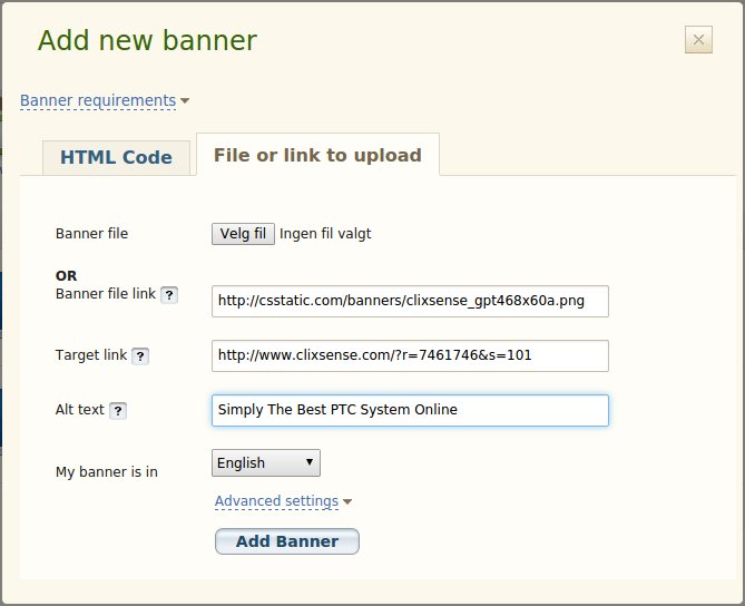 Add a new banner in EasyHits4U
