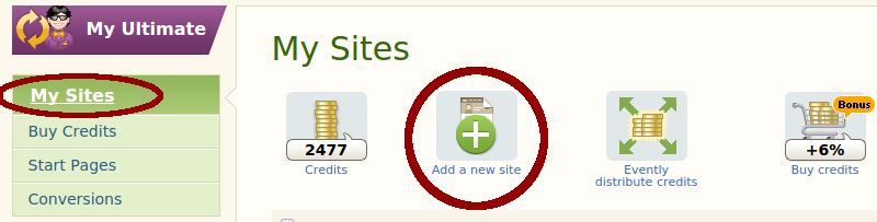 Add a new site in EasyHits4U